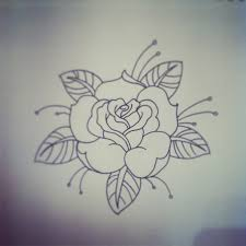 Black Outline Traditional Rose Tattoo Stencil By Jacob Tyrrell