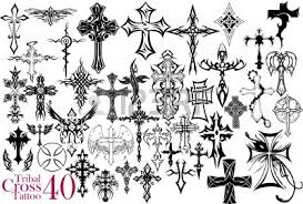 Cross Tatto On Tribal Tattoo Design Royalty Free Cliparts Vectors And Stock