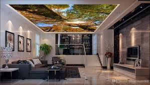 großhandel wallpaper 3d nature green forest landschaft schalldichte decke 3d wallpaper wohnzimmer zimmer heimwerker ceiling wandbilder