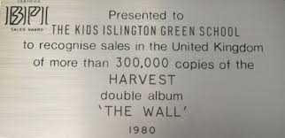 The Plaque On Platinum Disc Presented To Islington Green School Recognise 300000 Sales Of
