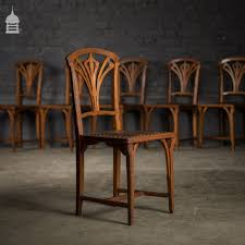 Set Of 6 Art Nouveau Carved Oak Dining Chairs   Vinterior Antique Vintage Art Nouveau Style Set Of 4 Carved Oak Ding Chairs Of Six French Louis Majorelle Caned Mahogany Unusual Victorian Walnut Wrought Iron Floral Lovely Important By Ernesto Basile For Ducrot 6 517550 Ding Chairs Art Nouveau Chair Set Sold Eight Period Tallback Stunning Inlaid High Back 2 Vinterior Fniture Antique Cupboards Tables