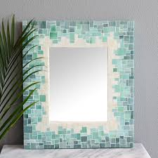 Mosaic Wall Mirrors Beach Style Bathroom Boston Beachy