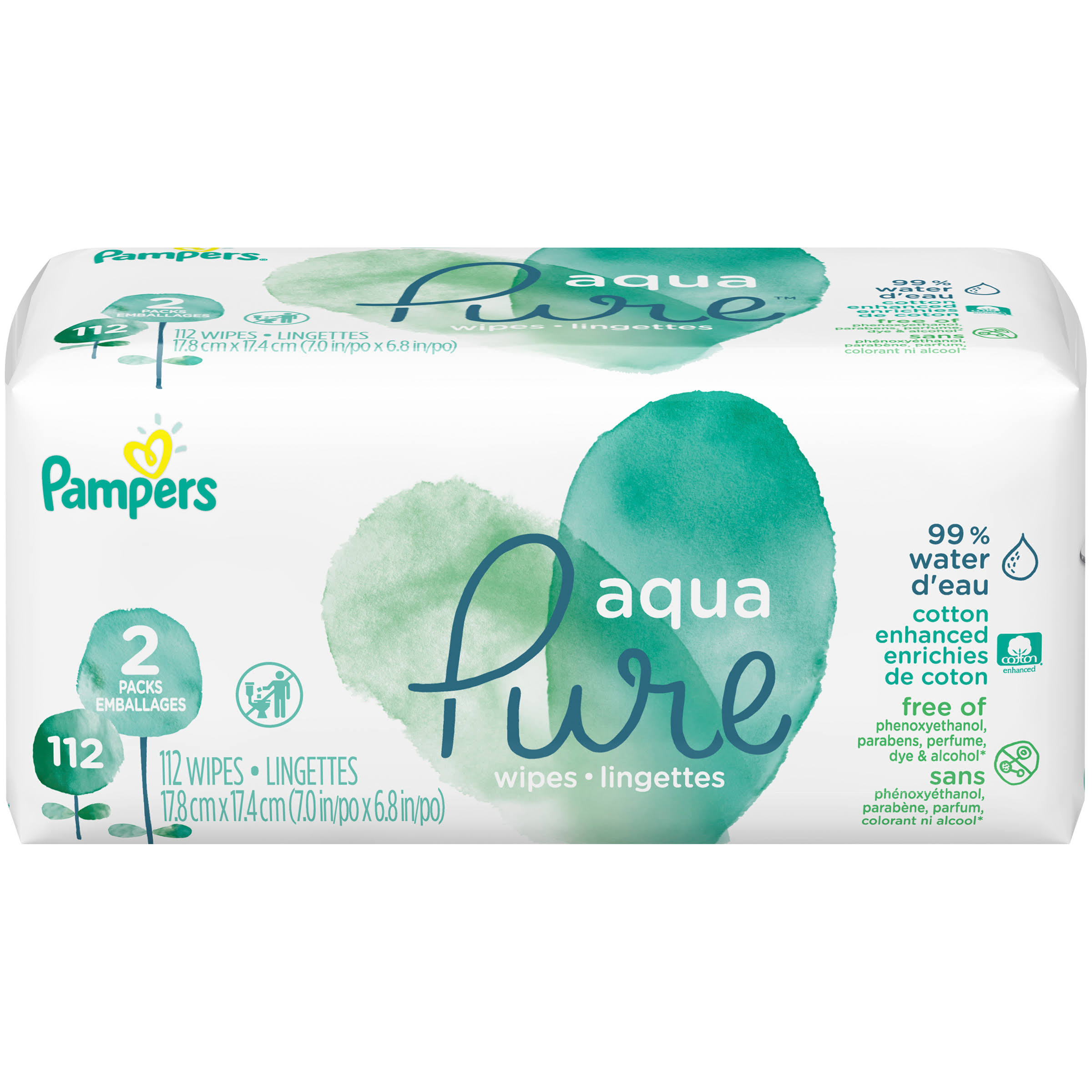 Pampers Aqua Pure Pop-Top Sensitive Baby Wipes - 112pcs