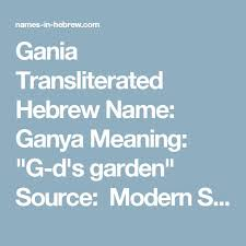 Gania Transliterated Hebrew Name Ganya Meaning G Ds Garden Source Modern Story Is A It Not Very Popular Or