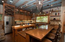 Rustic Kitchen With Tin Walls