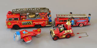 Four Tinplate Fire Vehicles: Kokyu (Japan) Fire Dept Truck ... Mickey Mouse Firetruck Cake Hopes Sweet Cakes Firetruck Wall Decals Gutesleben Kiddieland Disney Light And Sound Activity Rideon Clubhouse Toy Lot Fire Truck Airplane Car Figures Melissa Doug Friends Wooden Zulily Police Clipart Astronaut Pencil In Color Mickey Mouse Toys Hobbies Find Products Online At Amazoncom Mickeys Farm Vehicles Jual Takara Tomy Tomica Dm11 Jolly Float Figure Disneyland Vintage