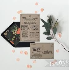 Kraft Paper Wedding Invitation Set RSVP Post Cards Modern Woodsy Rustic