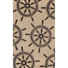 Black Ship Wheel Outdoor Rug by Liora Manne on Sale