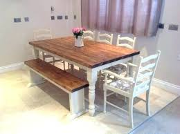 White Table With Bench Farmhouse Simple Design Dining Sensational Idea