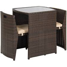BestChoiceProducts: Best Choice Products 3-Piece Wicker Bistro Set W/ Glass  Top Table, 2 Chairs, Space Saving Design | Rakuten.com Americana Wicker Bistro Table And Chairs Set Plowhearth Royalcraft Cannes Brown Rattan 3pc 2 Seater Cube Breakfast Ceylon Outdoor 3piece By Christopher Knight Home Hampton Bay Aria 3piece Balcony Patio Sirio Valentine Swivel Ellie 3 Piece Folding Fniture W Round In Dark Outdoor Cast Alinium Rattan Ding Sets Georgina With Cushions Wilko Effect