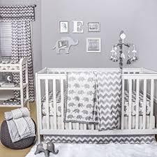 Amazon Grey Elephant and Chevron 4 Piece Baby Crib Bedding
