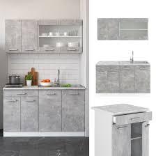 vicco küchenzeile single einbauküche 140 cm küche beton r line