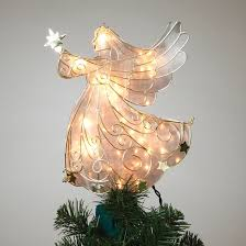 home decor 11 inch gold metal lighted angel tree toppers for