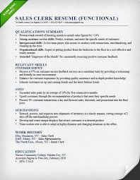 Sales Clerk Functional Resume Example