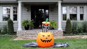 Halloween Airblown Inflatables by Skeleton Pumpkin Halloween Inflatable Youtube
