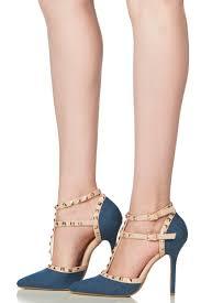 denim studded pointed toe single sole heels cicihot heel shoes