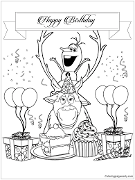 Frozen Characters Olaf And Sven Happy Birthday Coloring Page
