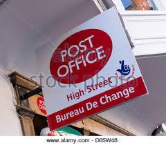 bureau de change nation post office bureau de change sign stock photo royalty free