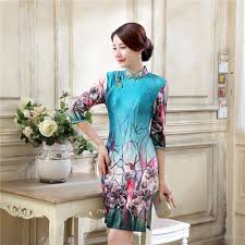 online buy wholesale chinese cheongsam dress blue from china