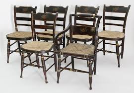 Dining Chairs - Set Of Six 19th Century Hand Painted American Rush ... Antique Set 10 Victorian Mahogany Balloon Back Ding Chairs 19th Of Six Century French Louis Xvi Cane Dutch Marquetry Inlaid Of 6 Legacy 12 Ft Flame Table 14 Chairs Room In Stock Photos Chairsgothic Chairsding Chairsfrench Fniture Single 2 Arm Late Hepplewhite Style Camelback 18th Walnut Chair With Queen Anne Legs English Cira 4 Turn The Century Ding In Wallasey Merseyside Gumtree 9776 Early Regency Vinterior