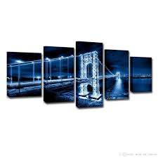 Canvas Posters Home Decor Prints Pictures 5 Pieces George Washington Bridge Nightscape Paintings Living Room Wall Art
