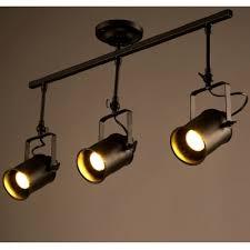 three light black iron spotlight to ceiling light
