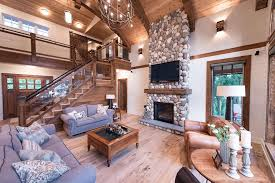 painted river rock fireplace living room traditional with rustic