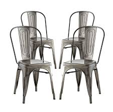 100 Modern Metal Chair Contemporary Urban Industrial Distressed Antique Vintage Style Kitchen Room Dining Set Of 4 Silver