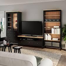 hemnes tv möbel kombination schwarzbraun hellbraun