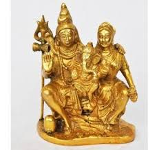 Stylish Hand Made Brass Metal Antique Finish Lord Shiv Complete Family Statue