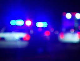 Shot Blurred Police Lights Top A Patrol Car At Night PAL