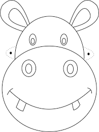 Hippo Mask Printable Coloring Page For Kids