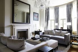living room sparkling bright chandelier matched with grey