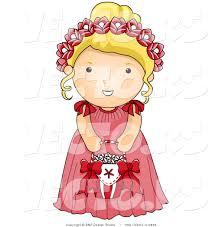 Vector of Cartoon Wedding Flower Girl in a Pink Dress