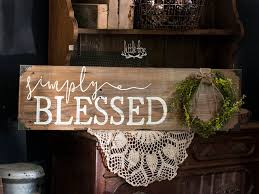 Signs Blessed Sign For Home Rustic Decor Simply Farmhouse Wreath Barn Wood