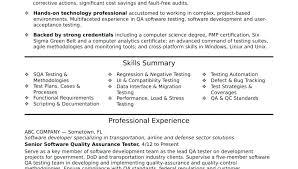 Qtp Resume Best Sample Test Engineer Templates Headline For Software Senior 3