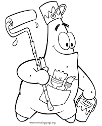 Patrick Star As A Painter Coloring Page