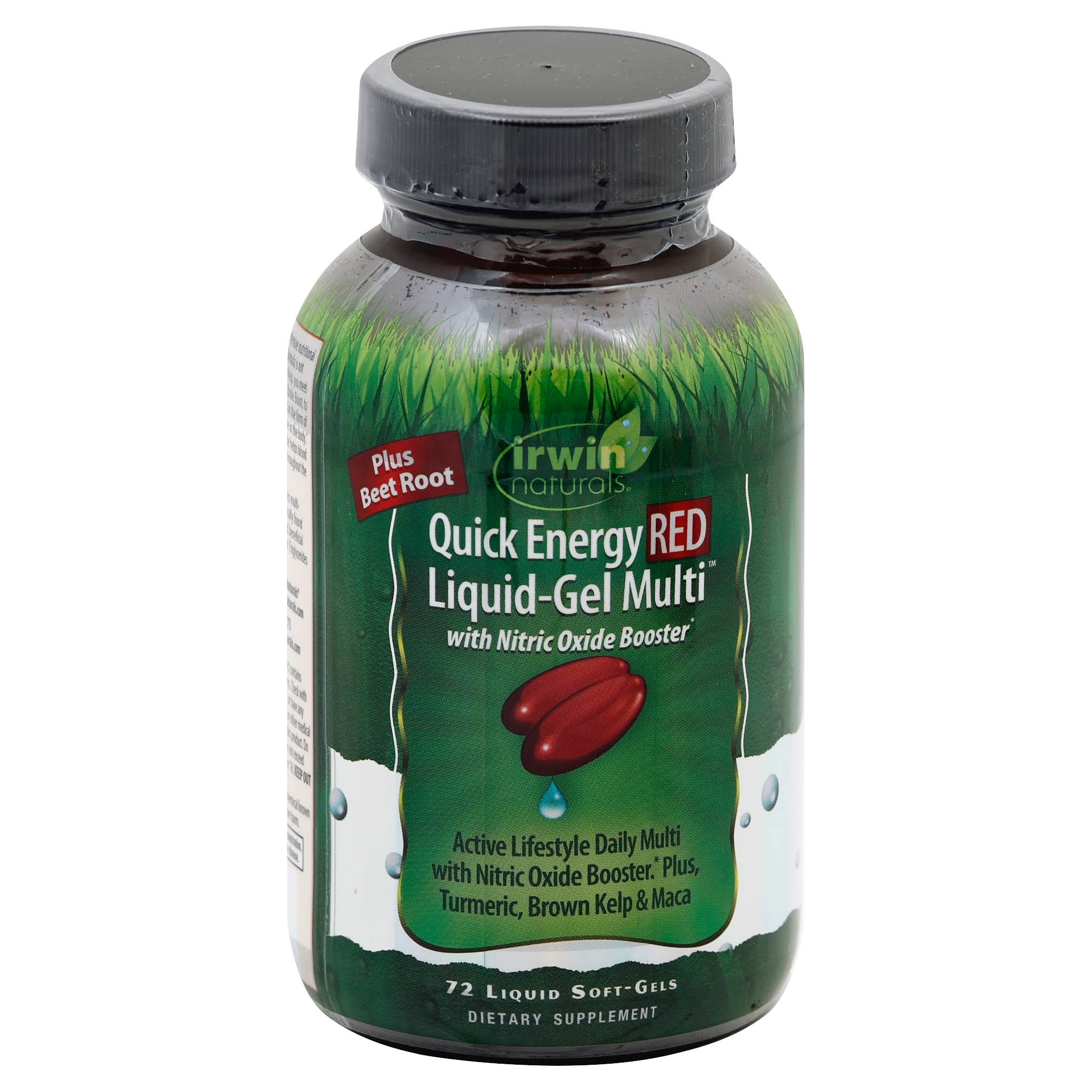 Irwin Naturals Quick Energy Red Liquid GEL Multi Dietary Supplement - 72ct