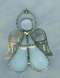 Xmas39 Handmade Stained Glass Angel Filigree Christmas Tree Ornament Suncatcher