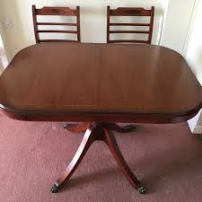 Stylish European Style Lacquered Mahogany Expanding Dining Table X 2 Chairs  | In Maidstone, Kent | Gumtree