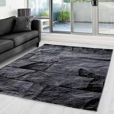 moderner designer wohnzimmer teppich mit steinmotiv parma 9250 schwarz grau größe 80x150 cm