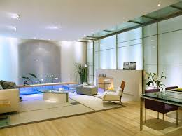 Modern Asian Home Decor With Wooden Floor And Grey Sofa Glass Table