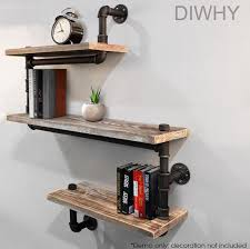 Wall Mounted Industrial Rustic Urban Iron Pipe Shelf 4 Tiers Wooden Board Shelving Home Restaurant