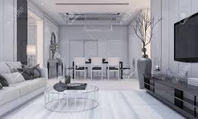 3d rendering schöne moderne wohnzimmer design luxus und esszimmer mit grauem sofa und tv regal und esstisch