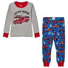 100 Fire Truck Applique Hatley Grey And Printed Bottom Pyjamas