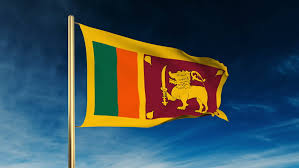 Sri Lanka Flag Slider Style Waving In The Wind With Cloud Background Animation