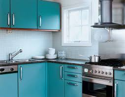 Small Tiles Soft Blue Kitchen Backplash With Contemporary Cabinets Corner Design Bathroom Large Modern