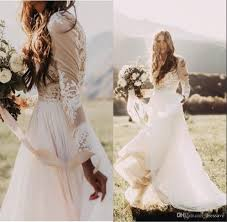 discount bohemian country wedding dresses with sheer long sleeves