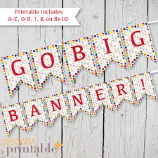 DIY Custom Banner - Primary Colors Polka Dots - Printable A-Z, 0-9 8x10