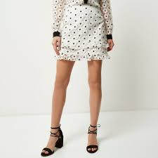 river island white floral print frilly mini skirt in white lyst